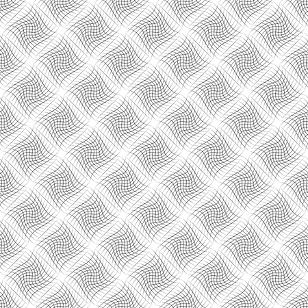 grid pattern: Abstract grid pattern with distorted squares of lines. Abstract repeatable monochrome background. Illustration