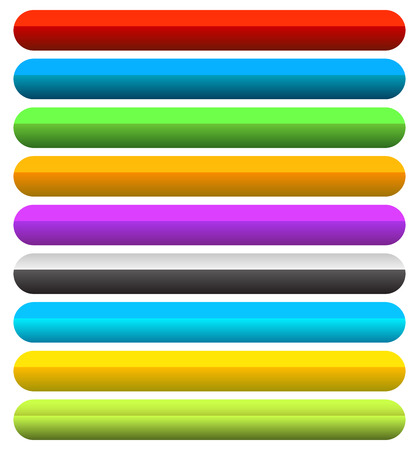 rectangle button: Vivid, colorful horizontal button, banner backgrounds with blank space. Rounded rectangle banners. Illustration