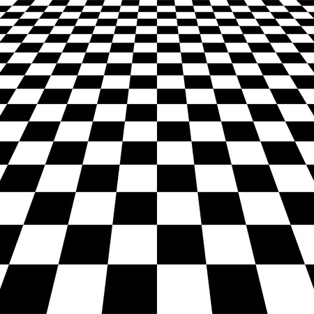 black floor: Vanishing checkered surface. 3d surface in perspective. Vector background. Illustration