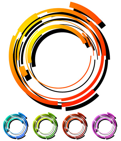 segmented: Abstract hi-tech segmented geometric circle in 5 colors