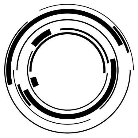 추상 하이테크 흰색에 고립 된 기하학적 인 원 모양을 분할 일러스트