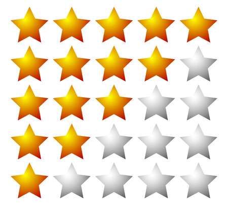 value system: Set of 5 star rating elements starting from 1 star