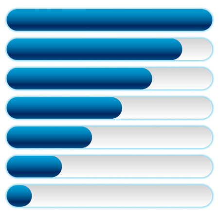 metre: Progress, loading bars in sequence with vector outer glow effect. Illustration