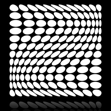 deformation: Grid of circles with distortion, deformation effect. Illustration