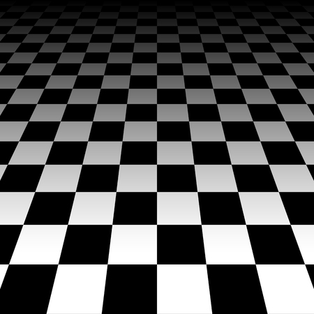 three points: Vanishing checkered surface. 3d surface in perspective. Vector background. Illustration