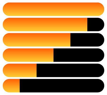 fullness: Horizontal bars. Loading bars, progress indicators. Completion.