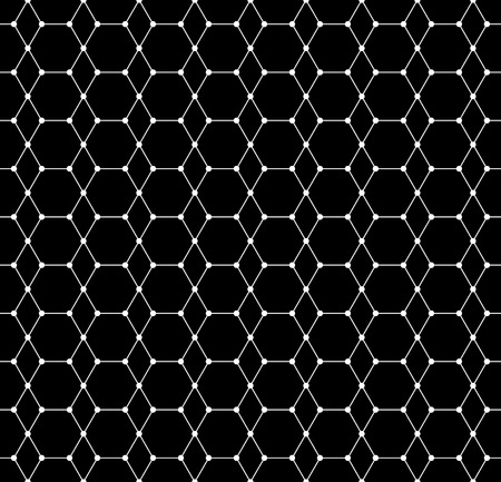 nodes: Abstract grid, mesh pattern with nodes. Seamlessly repeatable abstract monochrome vector texture.