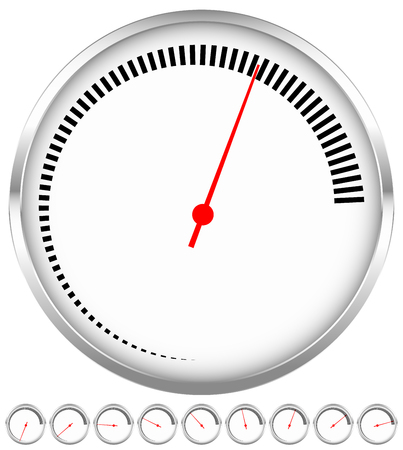 gas gauge: Circular dial, gauge template with increments and red needle Illustration
