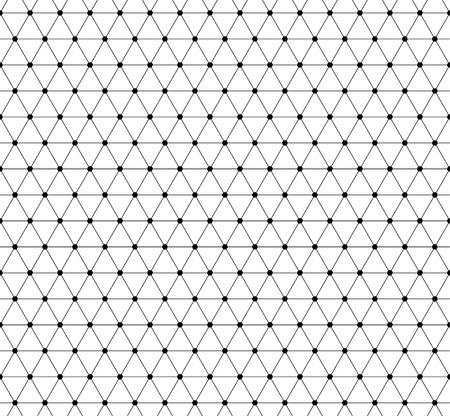 Extracto de la red, patrón de malla con nodos. Perfectamente repetible textura abstracta blanco y negro del vector.