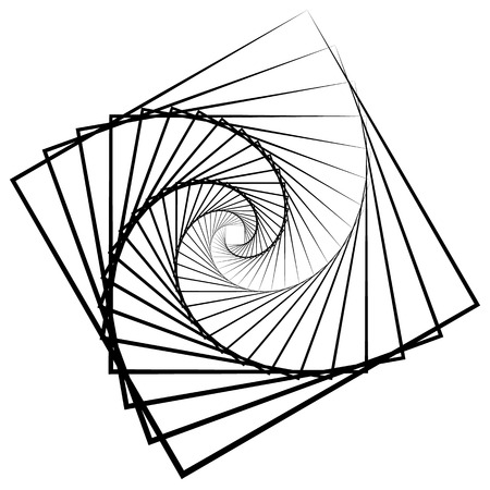 Abstract monochrome square element with rotating distortion effect