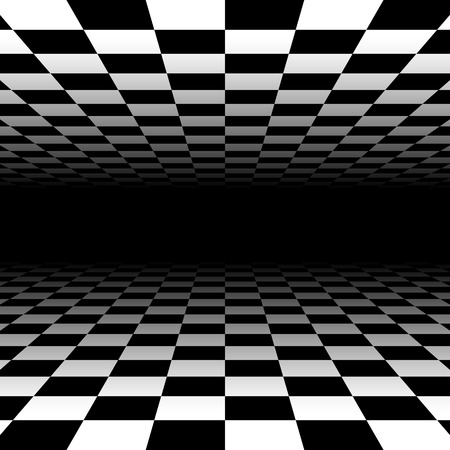 Vanishing checkered surface. 3d surface in perspective. Vector background. Illustration
