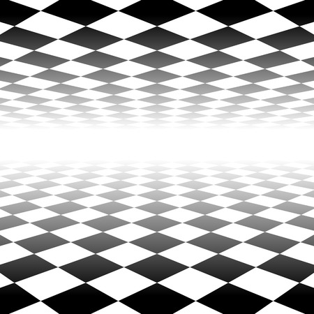 Vanishing checkered surface. 3d surface in perspective. Vector background. Vectores