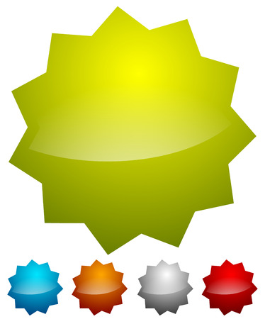 starburst: Badge, starburst shapes on white in several colors