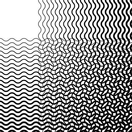 grillage: Intersecting wavy lines pattern  texture. Editable vector art.