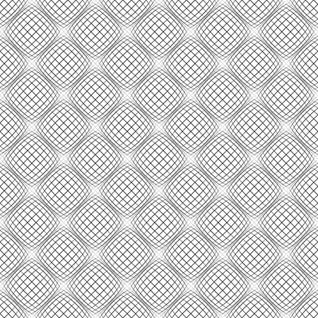 protuberant: Abstract grid pattern with distorted squares of lines. Abstract repeatable monochrome background. Illustration