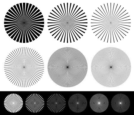 converging: Starburst, converging lines element set. Monochrome abstract vector shapes.