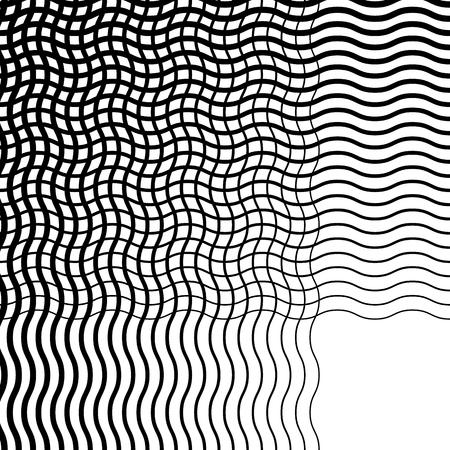 Intersecting wavy lines pattern  texture. Editable vector art.