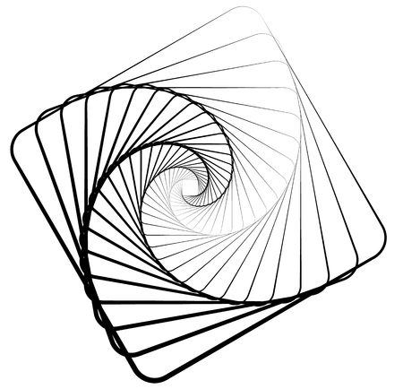 distortion: Abstract monochrome square element with rotating distortion effect