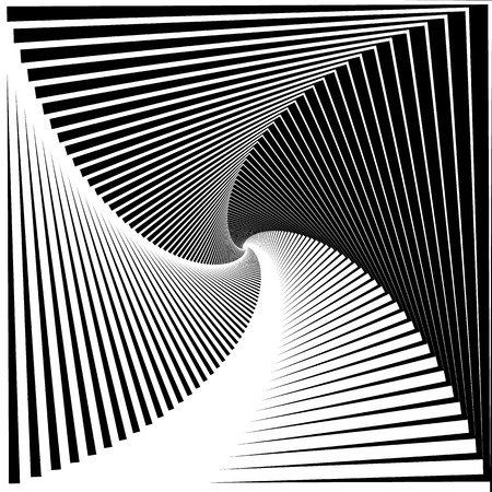 gyration: Inward rotating, spirally squares abstract monochrome background Illustration