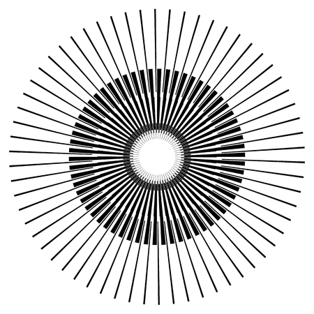 fine detail: Abstract circle element with geometric lines on white