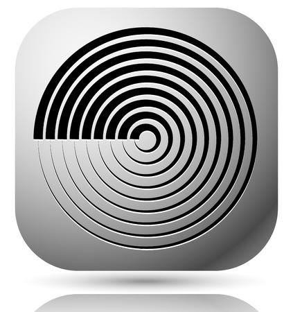 Generic icon with cyclic, circular concentric lines symbol Illustration