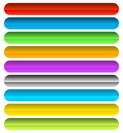 corner tab: Vivid, colorful horizontal button, banner backgrounds with blank space. Rounded rectangle banners. Illustration