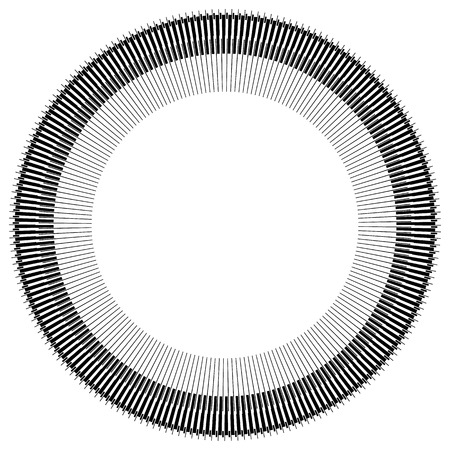 modernist: Abstract circle element with geometric lines on white