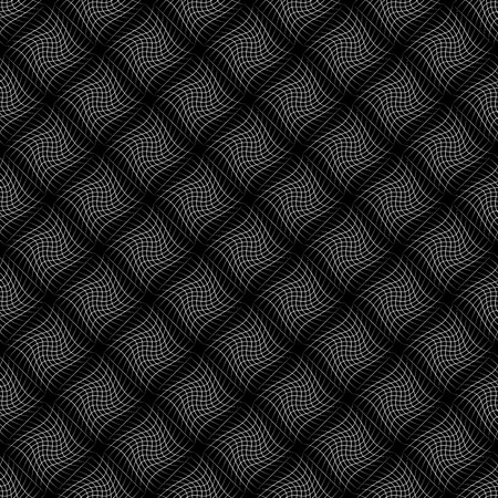 distorted: Abstract grid pattern with distorted squares of lines. Abstract repeatable monochrome background. Illustration