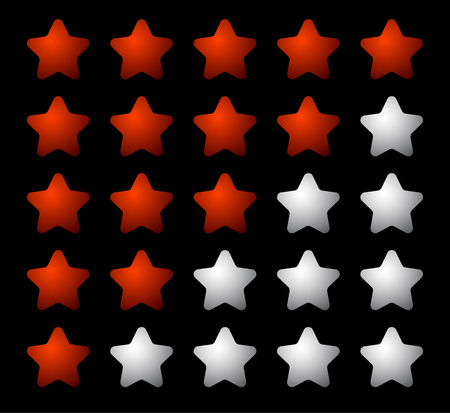 worse: Set of 5 star rating elements starting from 1 star