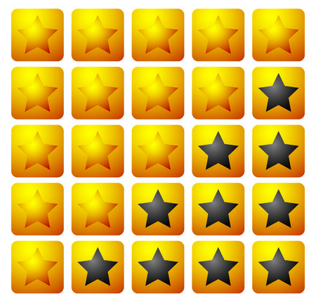 star rating: Set of 5 star rating elements starting from 1 star