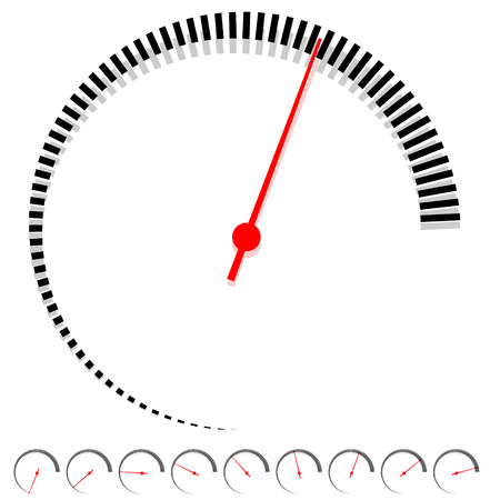 increments: Circular dial, gauge template with increments and red needle Illustration