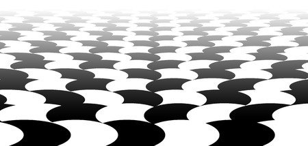 horizont: Vanishing checkered surface with circles. 3d surface in perspective. Vector background. Illustration