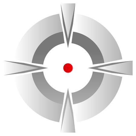 cross hair: Cross hair, target mark symbol with red dot isolated on white.