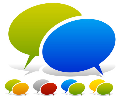 combinations: Two overlapping speech, talk bubbles in more color combinations Illustration