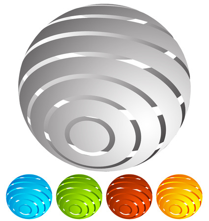 spatial: Abstract striped globe in perspective. 5 colors included.