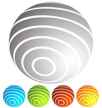 globus: Abstract striped globe in perspective. 5 colors included.
