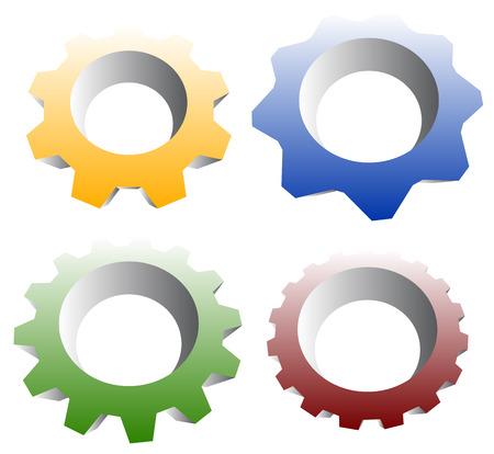developement: Gearwheel, cogwheel, gear shapes. mechanics, industry or production, development concepts