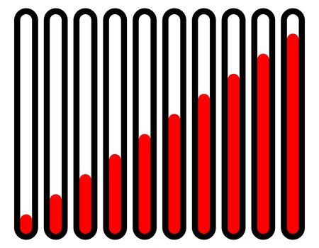 vertical bars: Vertical progress, loading bars, progress indicators in sequence