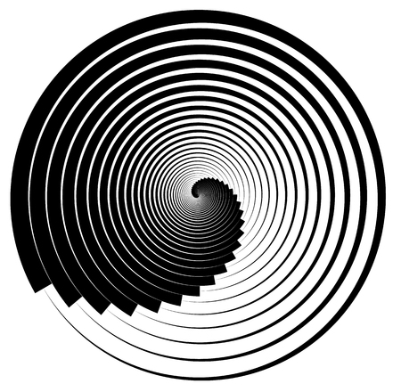 inwards: Abstract shape with vortex, rotation effect inwards