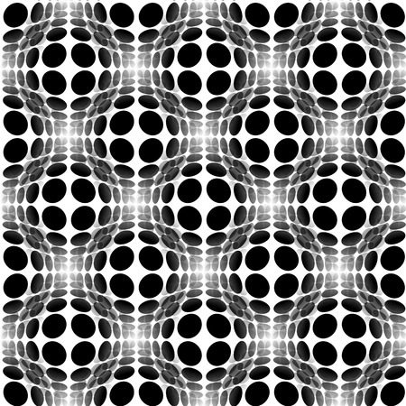 convex shape: Sphere, circles abstract monochrome pattern with distortion effect. Repeatable.