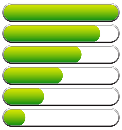 overdrive: Loading, progress bars, indicators. Levels from low to high. editable vector