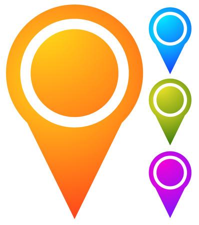 visit us: Map marker, map pin set. Abstract pushpins, thumbtacks. Vector.