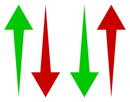 녹색과 빨간색의 위아래 화살표 세트