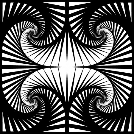 mirrored: Abstract pattern with mirrored tiles of rotating squares. Seamlessly repeatable. Illustration