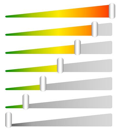 Laden, Fortschrittsbalken, Indikatoren. Levels von niedrig bis hoch. editierbare Vektor Vektorgrafik