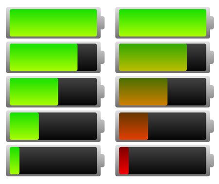 滑らかなバッテリ レベル インジケーターのセット。緑と色。  イラスト・ベクター素材
