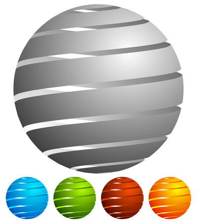 camber: Abstract striped globe in perspective. 5 colors included.