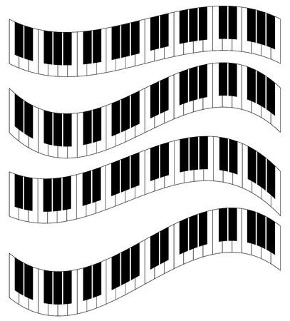 Tasti di pianoforte, tastiera di pianoforte isolati. Illustrazione vettoriale.