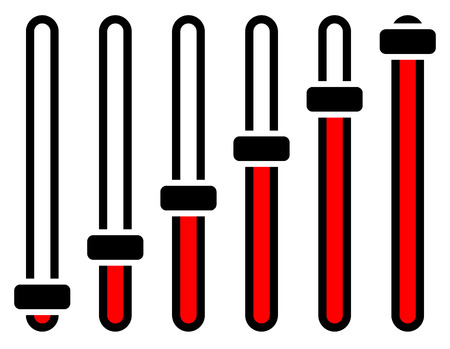 Vertical adjusters, sliders, faders or potentiometers in sequence. Simple user interface elements