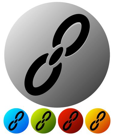 Icon with chain link symbol for connection, appendix, attachment concepts Illusztráció